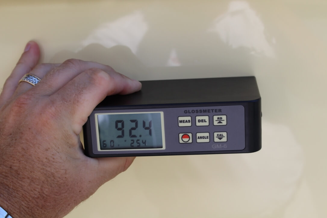 92.4 gloss meter reading after Glidecoat boat detailing and nano protective coating application to hull of SeaVee