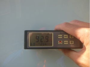 Gloss meter reading after applying Glidecoat Top Coating