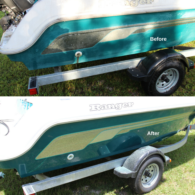 Before and After comparison after Glidecoat boat detailing on a green hulled boat
