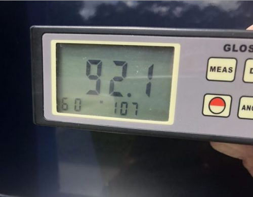 92.1 gloss meter reading on 256 Blackjack