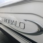 Reflection from white hulled Robalo after Glidecoat boat detailing and ceramic coating application