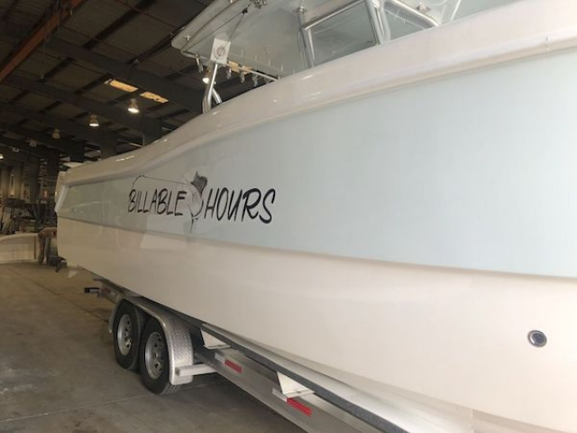 Billable Hours Boat Sitting On Trailer at Prowler Manufacturing Facility