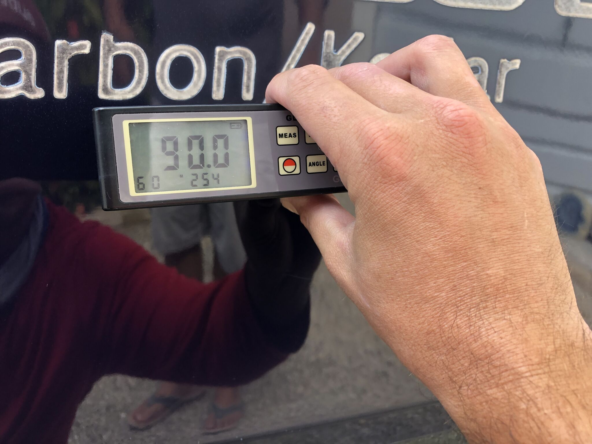 90 gloss meter reading after ceramic coating application on SeaHunter boat