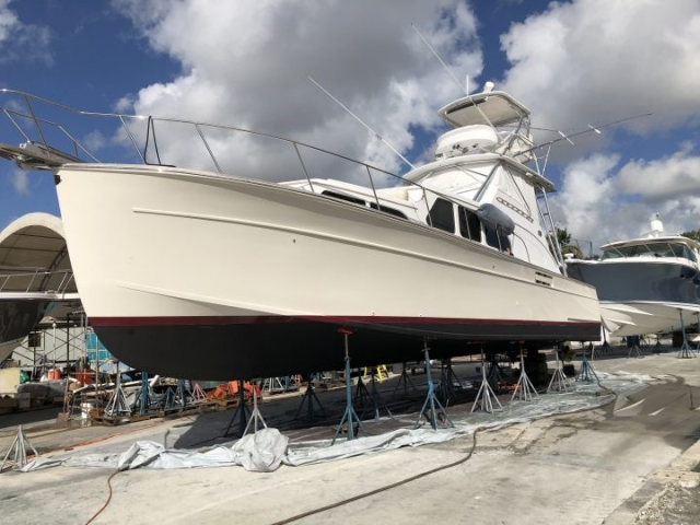 Port Side of custom fisherman in boat yard after nano ceramic application
